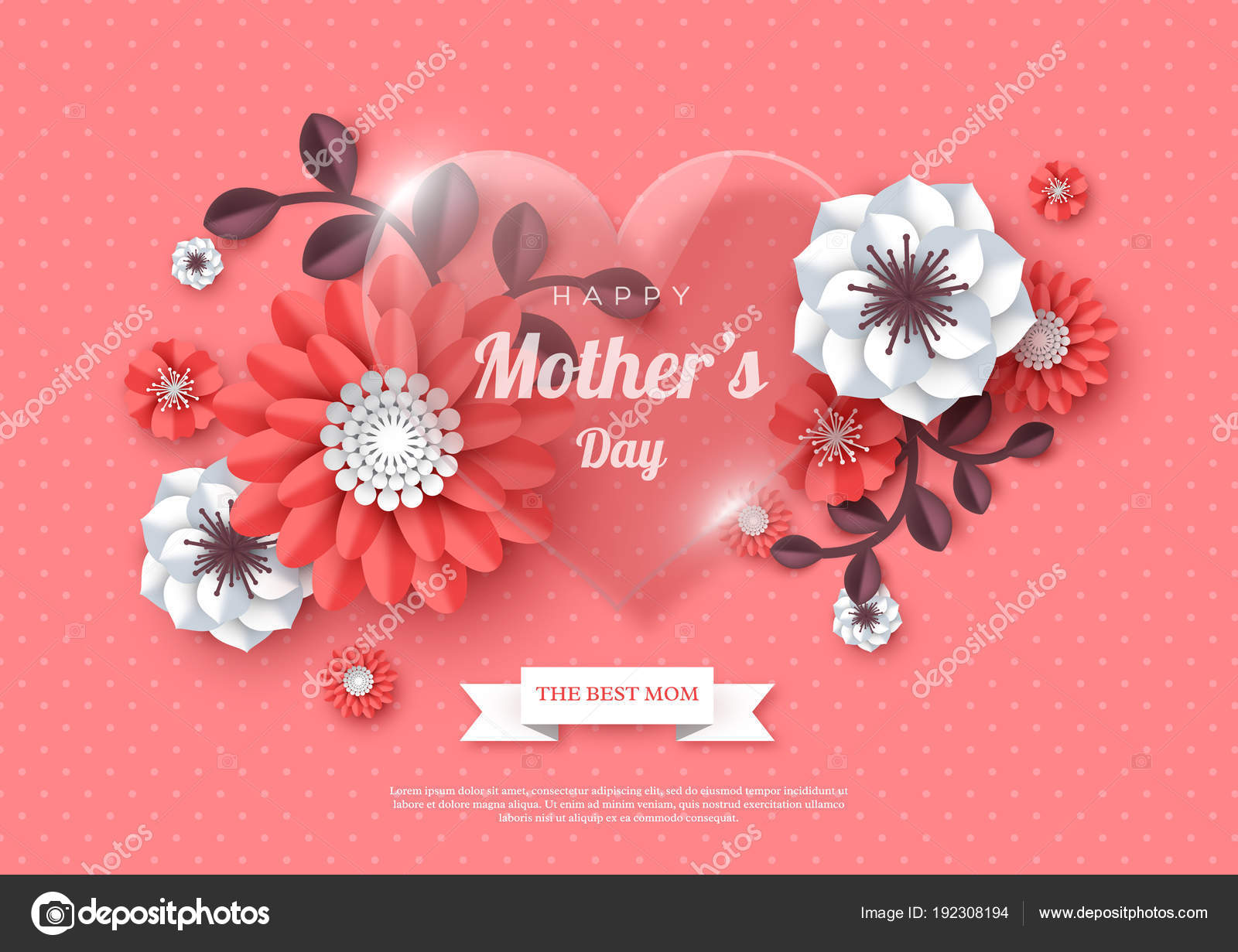 Happy mothers day greeting card paper cut flowers with glossy heart happy mothers day greeting card paper cut flowers with glossy heart holiday background m4hsunfo Image collections