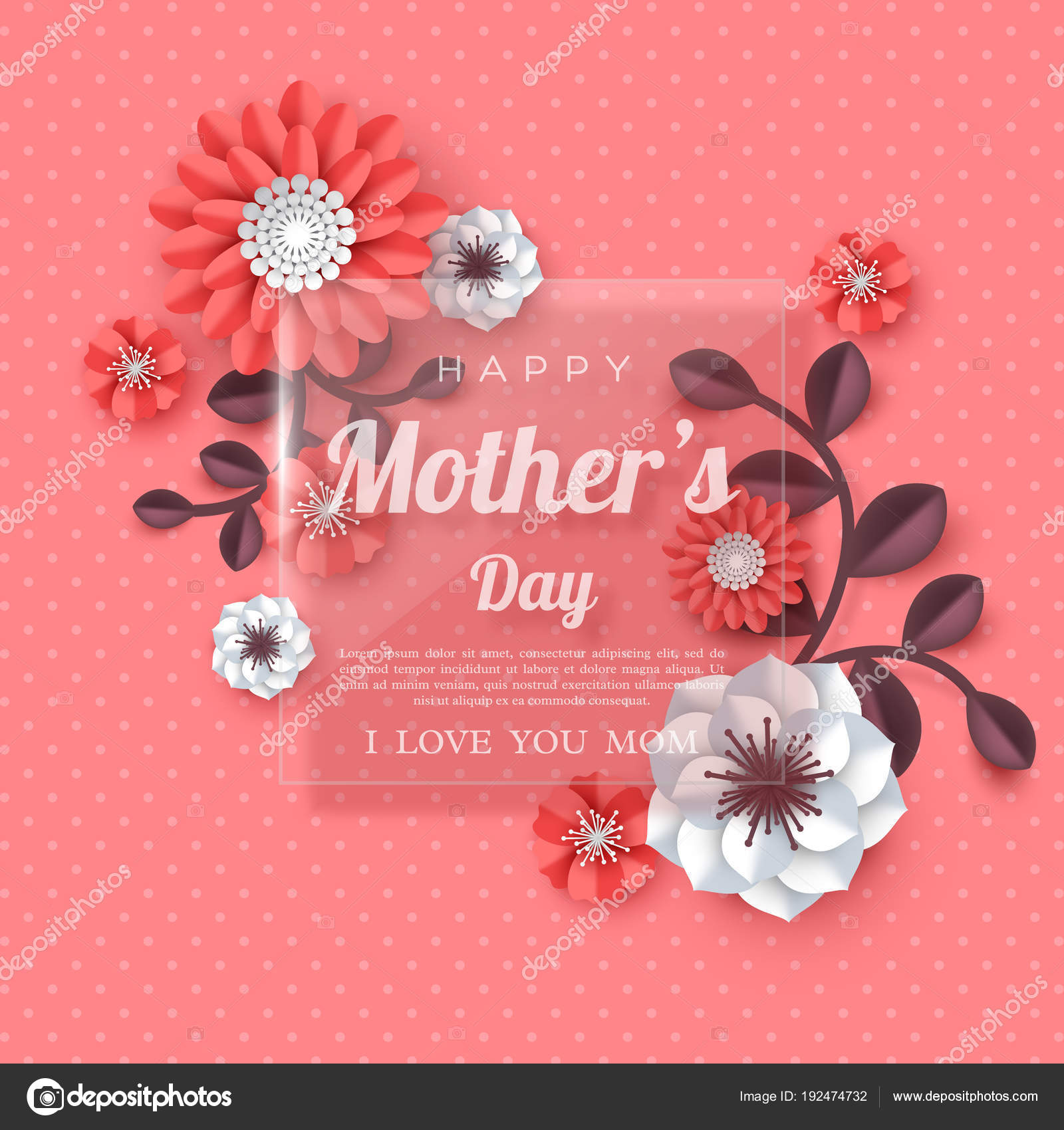 Happy Mothers Day Greeting Card Stock Vector Ludasikm79ail