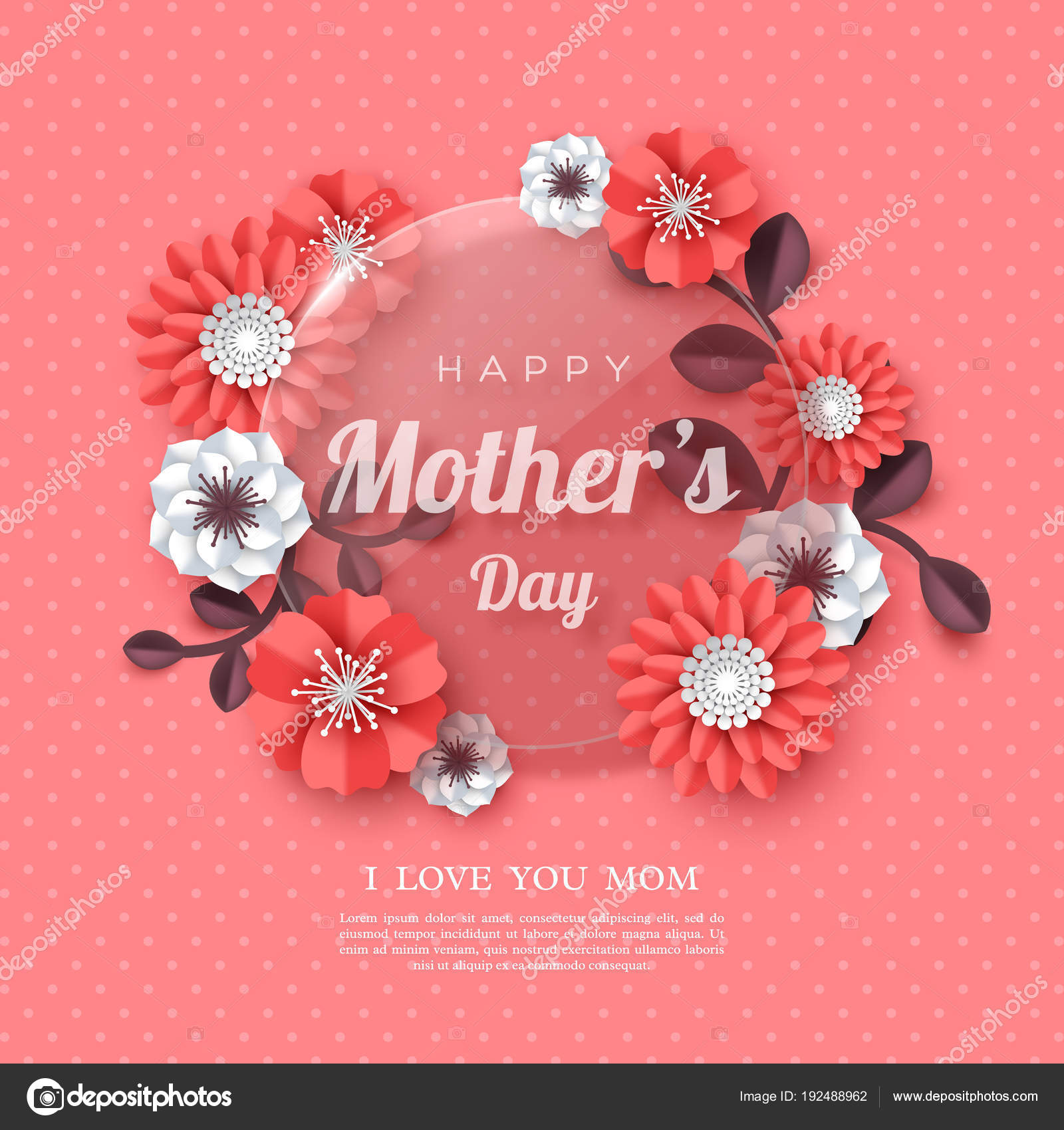 Happy mothers day greeting card stock vector ludasikm79ail happy mothers day greeting card paper cut flowers with glossy banner holiday background vector illustration vector by ludasikm79ail m4hsunfo
