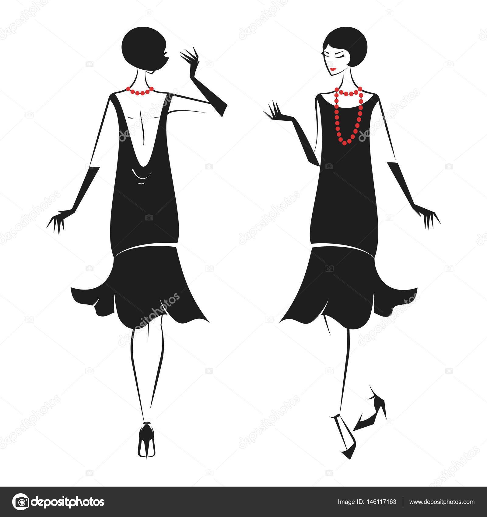 Frau In Einem Kleid Der 20er Jahre Stockvektor Konekotanyagmail
