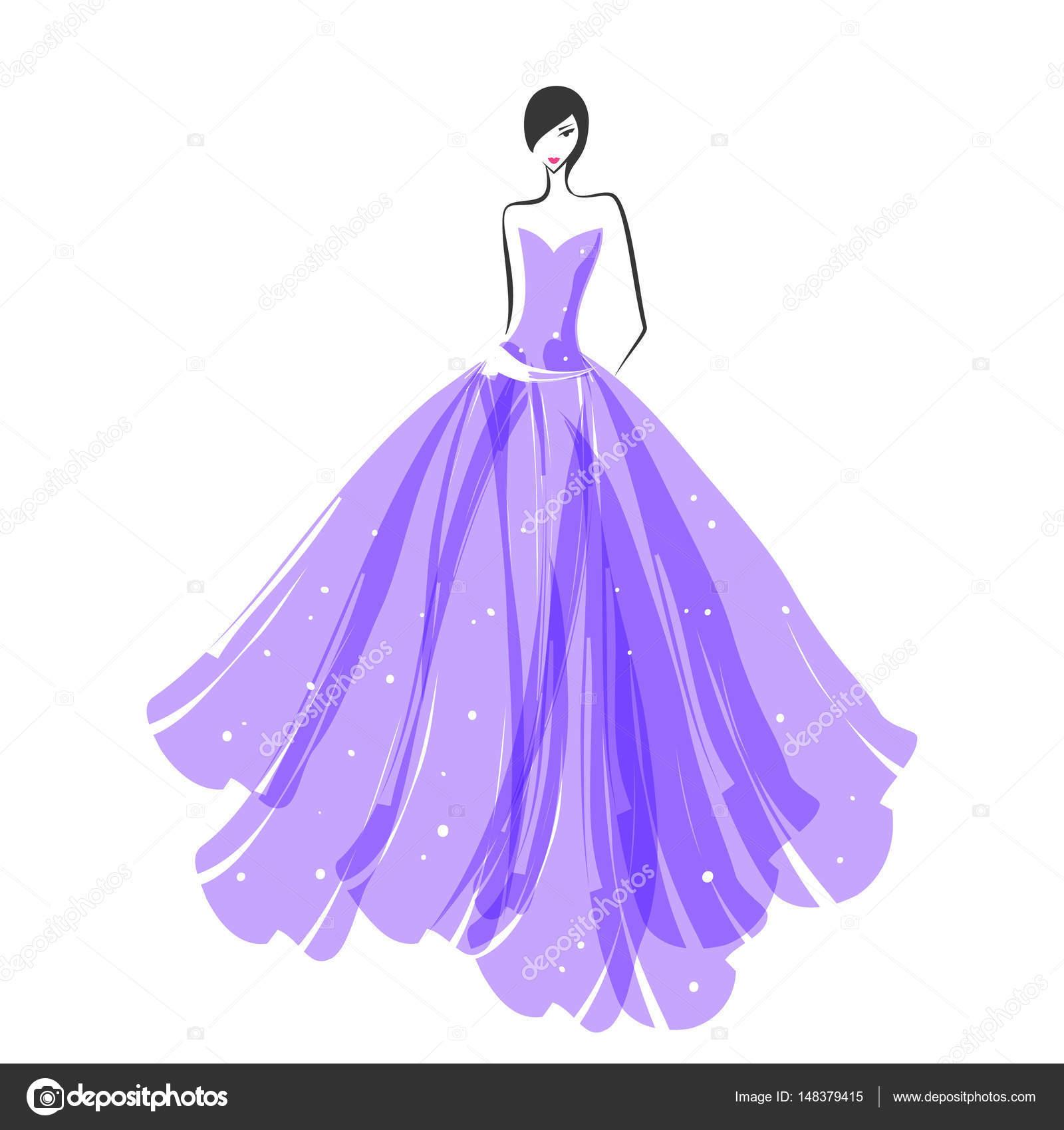 mujer en el vestido de bola morada — Archivo Imágenes Vectoriales ...