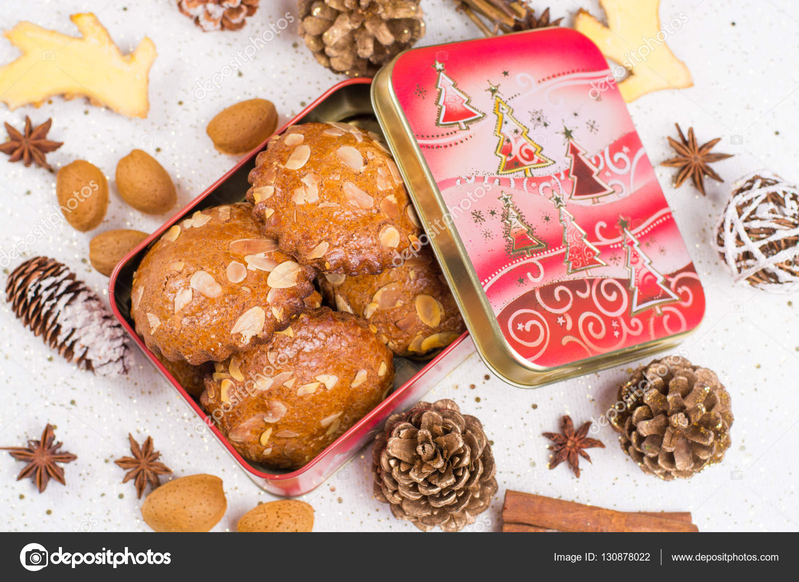 Christmas Tin Cookies.Christmas Cookies With Almond Nuts And Ginger In Tin Box