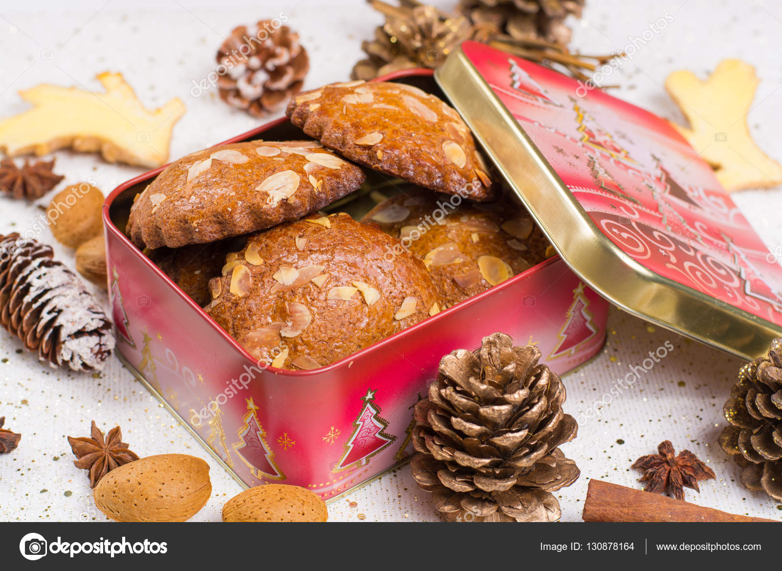 Christmas Tin Cookies.Christmas Food Cookies With Almond Nuts And Ginger In Tin