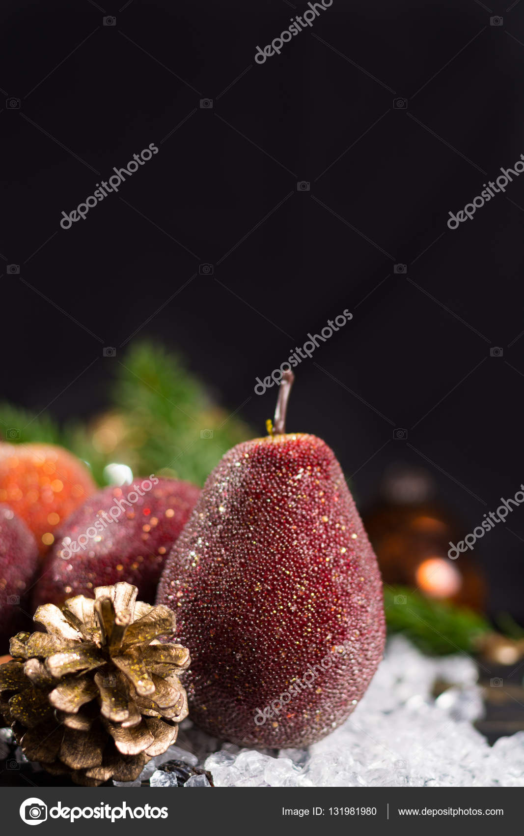 Christmas Pears.Christmas Decoration Close Up Apples And Pears Stock