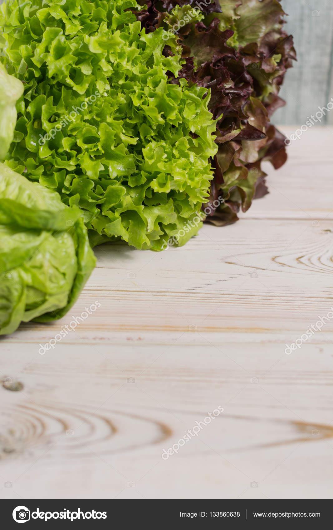 variété de feuilles de salade verte et rouge de laitue fraîche