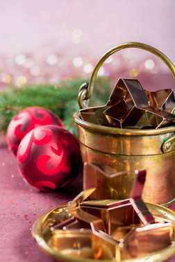 Golden metal cutting forms for christmas star cookies, biscuits,