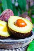 Healthy vegetarian food green ripe avocado, new harvest