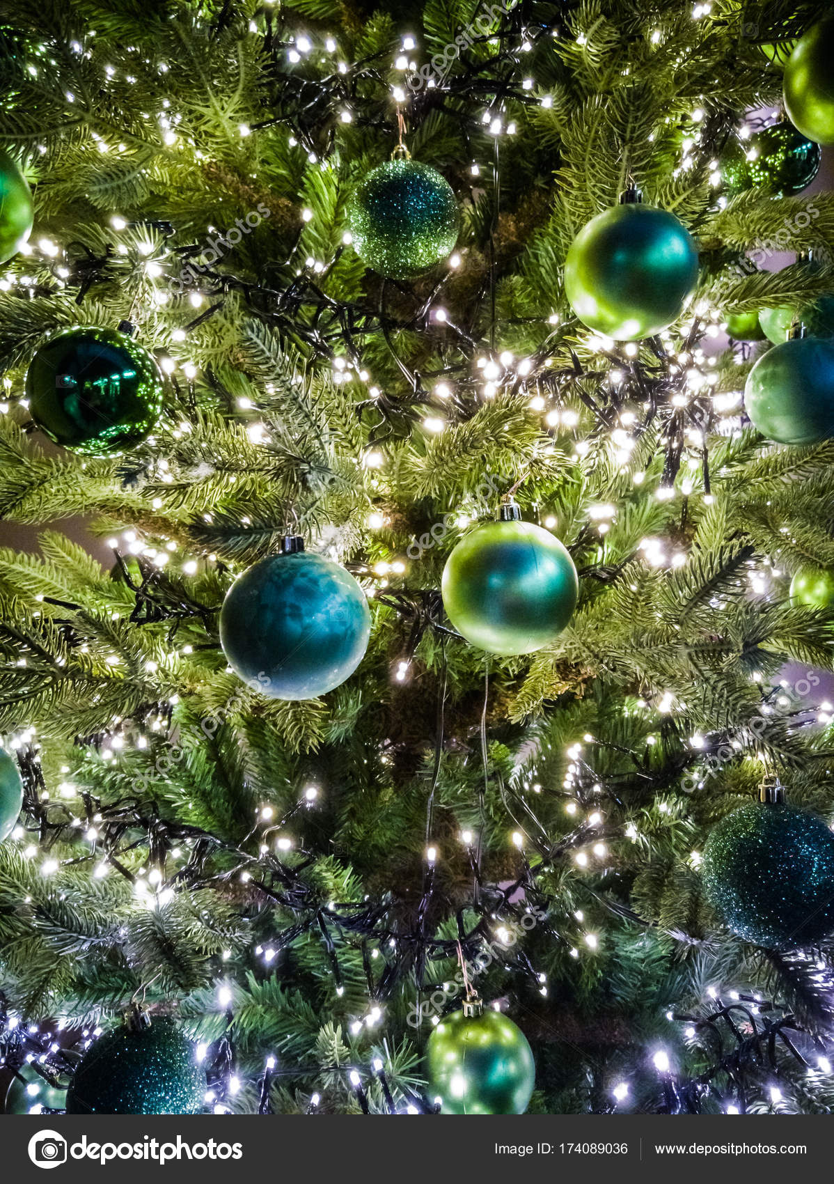 Traditional Decorated Christmas Tree In Green Colors With Green Stock