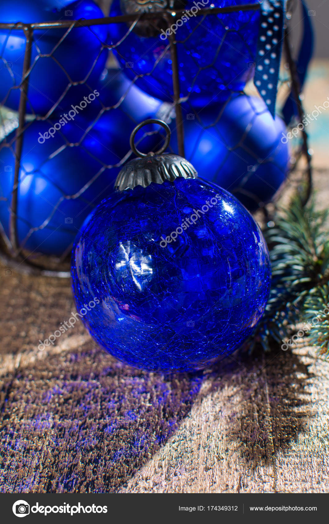Old Vintage Cobalt Blue Christmas Tree Balls From Glass Stock Photo C Foto Pixel Web De 174349312