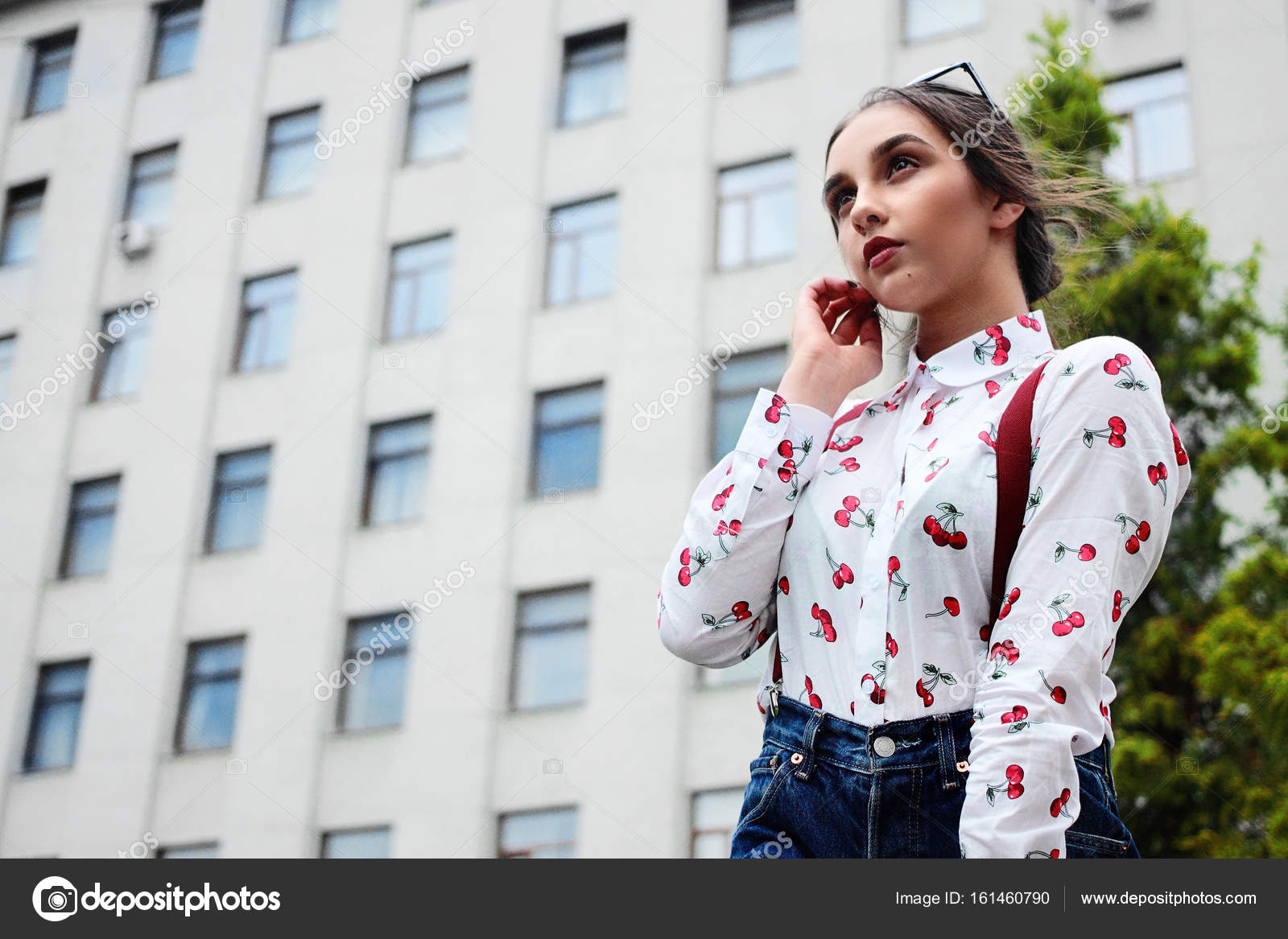 Closeup Fashion Portrait Of Young Pretty Hipster Girl With
