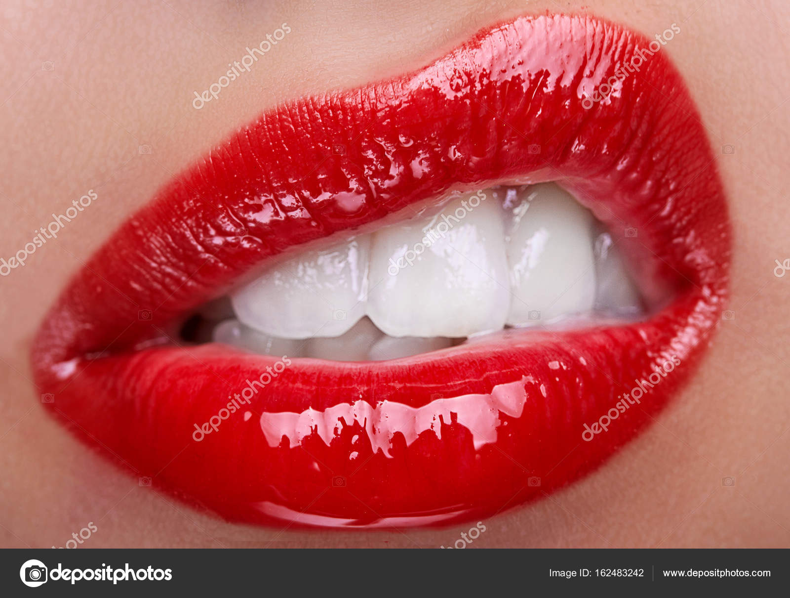 Closeup Of Lips With Red Glance Lipstick Passionate Macro Photography Photo Cosmetology Drugstore Or Fashion Makeup Concept Beauty Studio Shot Stock Image By C Simplesseller Gmail Com 162483242
