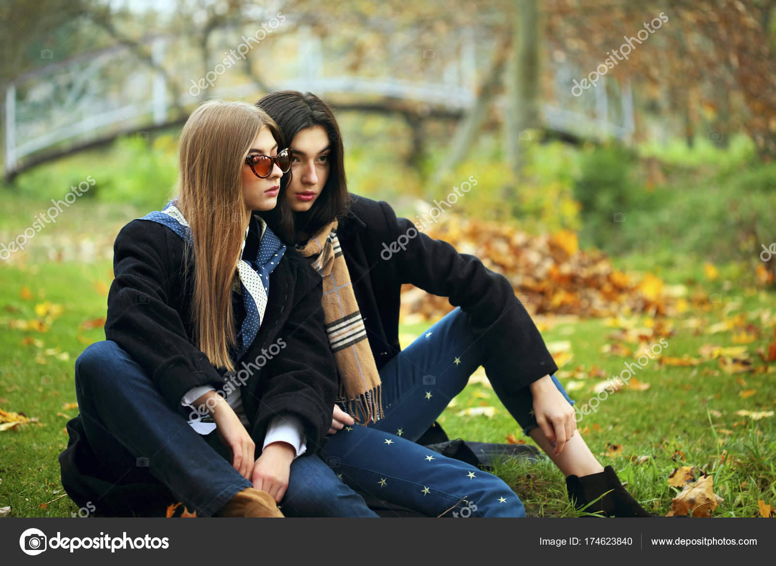 f9b421a96d1 Outdoors lifestyle fashion portrait of two sexy girls friends
