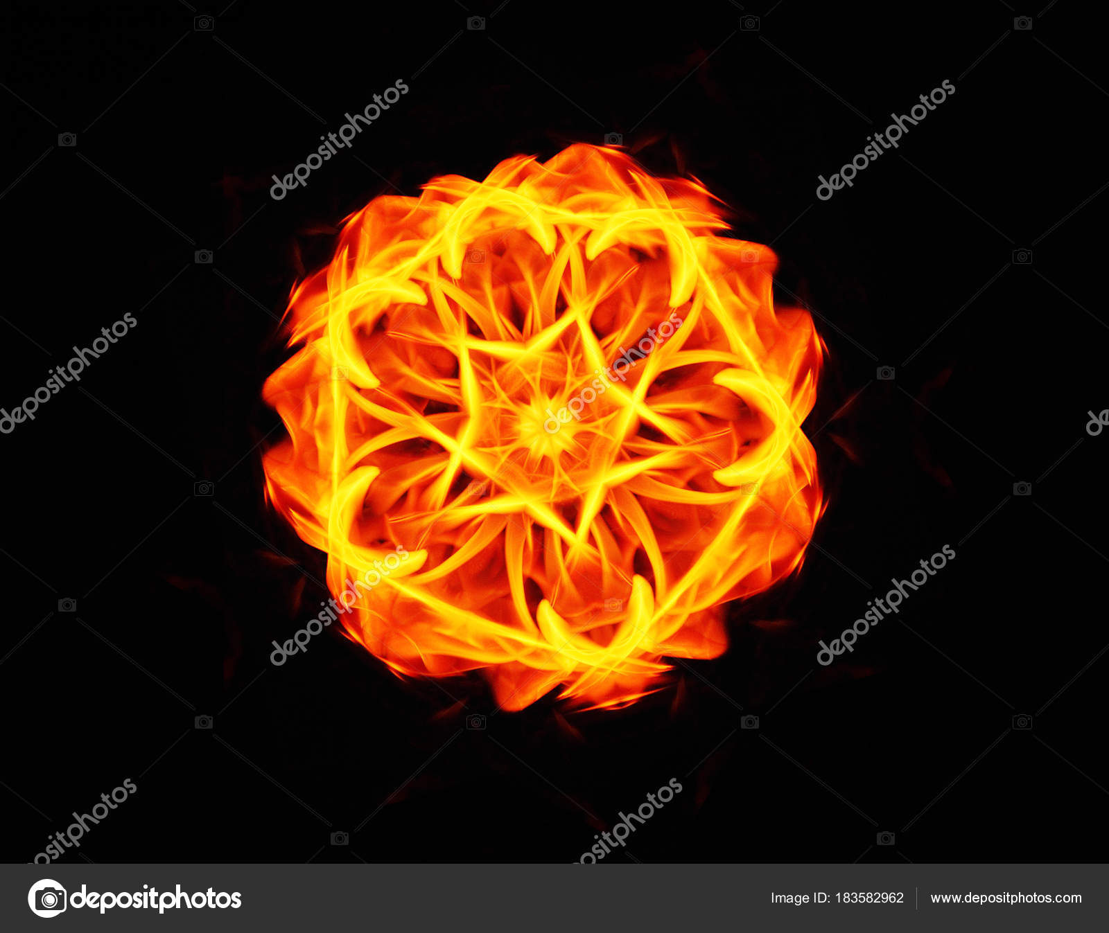 Flammes De Feu Abstraite Fleur De Feu Flammes De Feu Sur Fond Noir