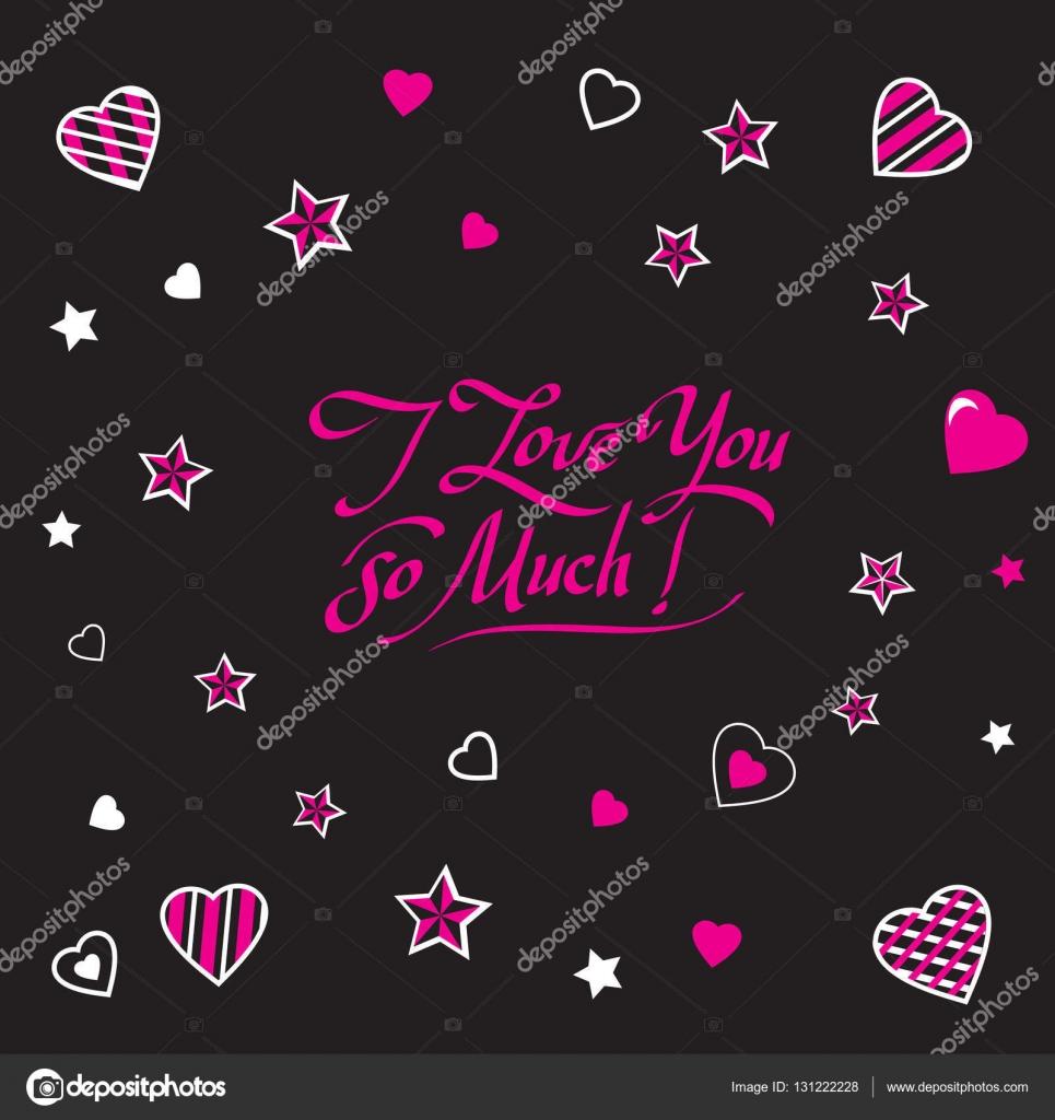 Kalligraphische Inschrift romantische Schrift ich liebe dich so sehr ...