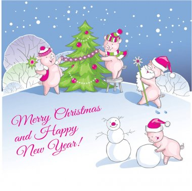 Greeting Christmas and New Year card with nice pigs.