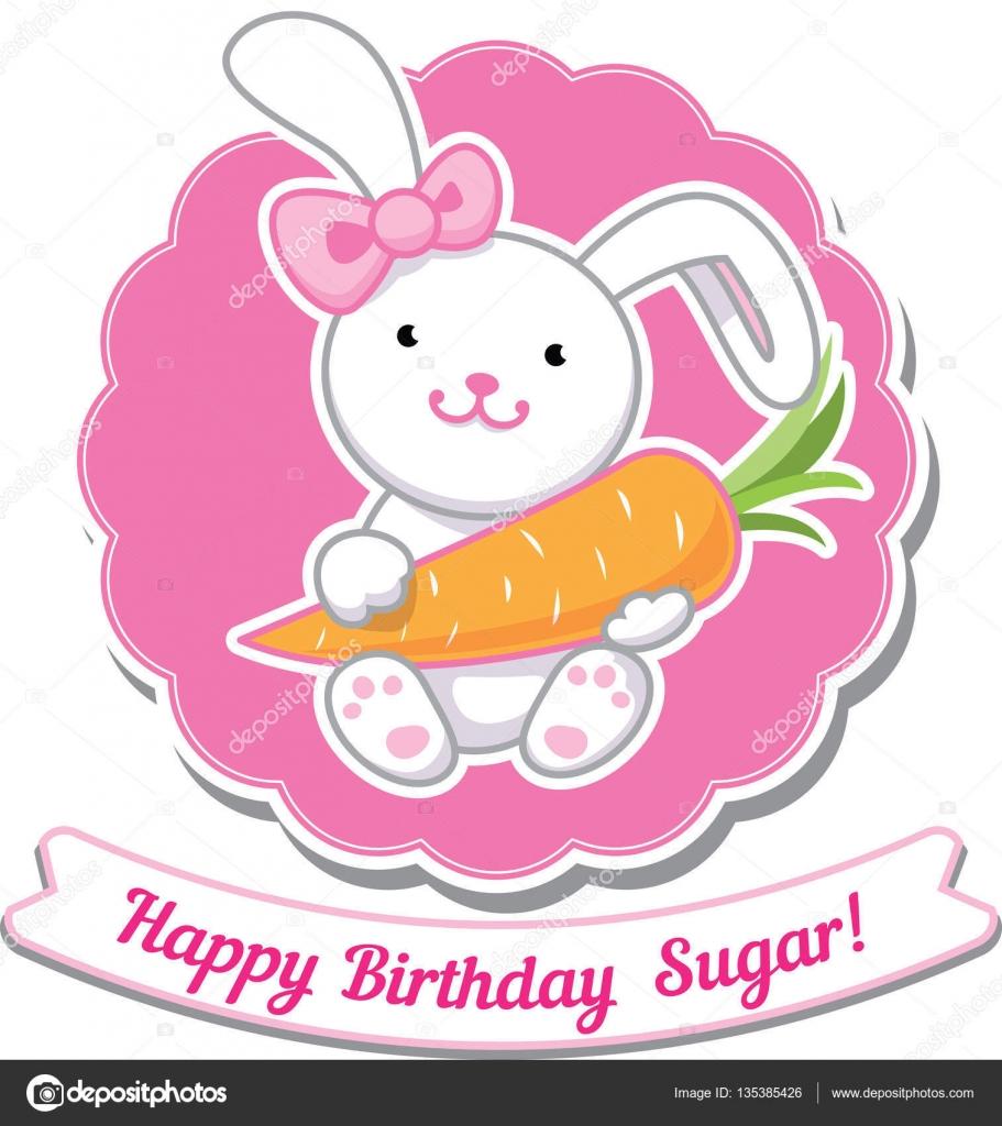Happy Birthday Card With Amazing Cartoon Bunny Girl Stockillustration