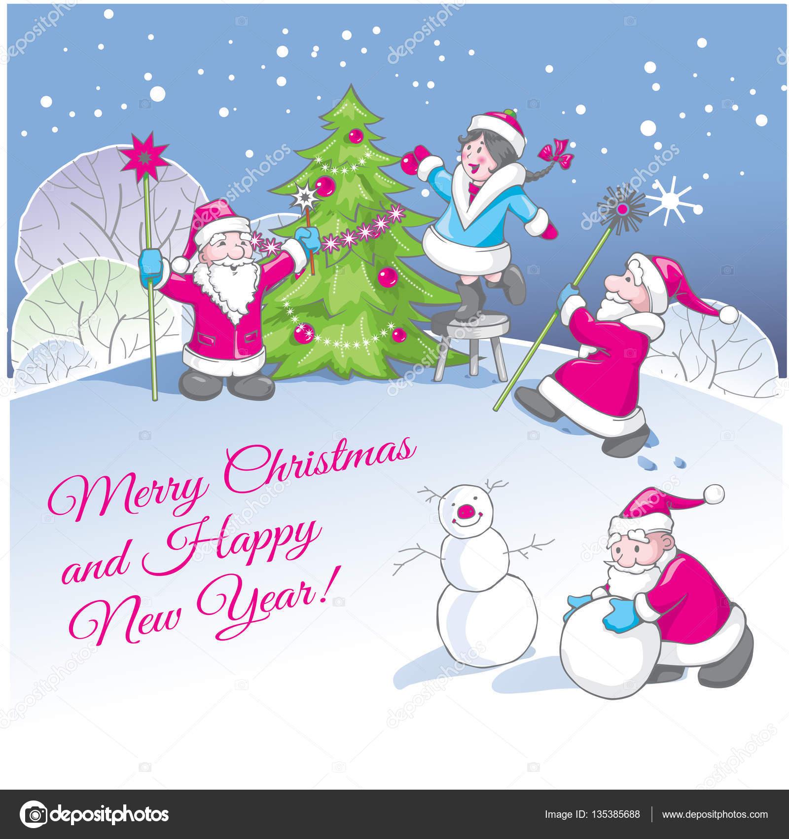 greeting christmas and new year card with funny cartoon santas stock vector