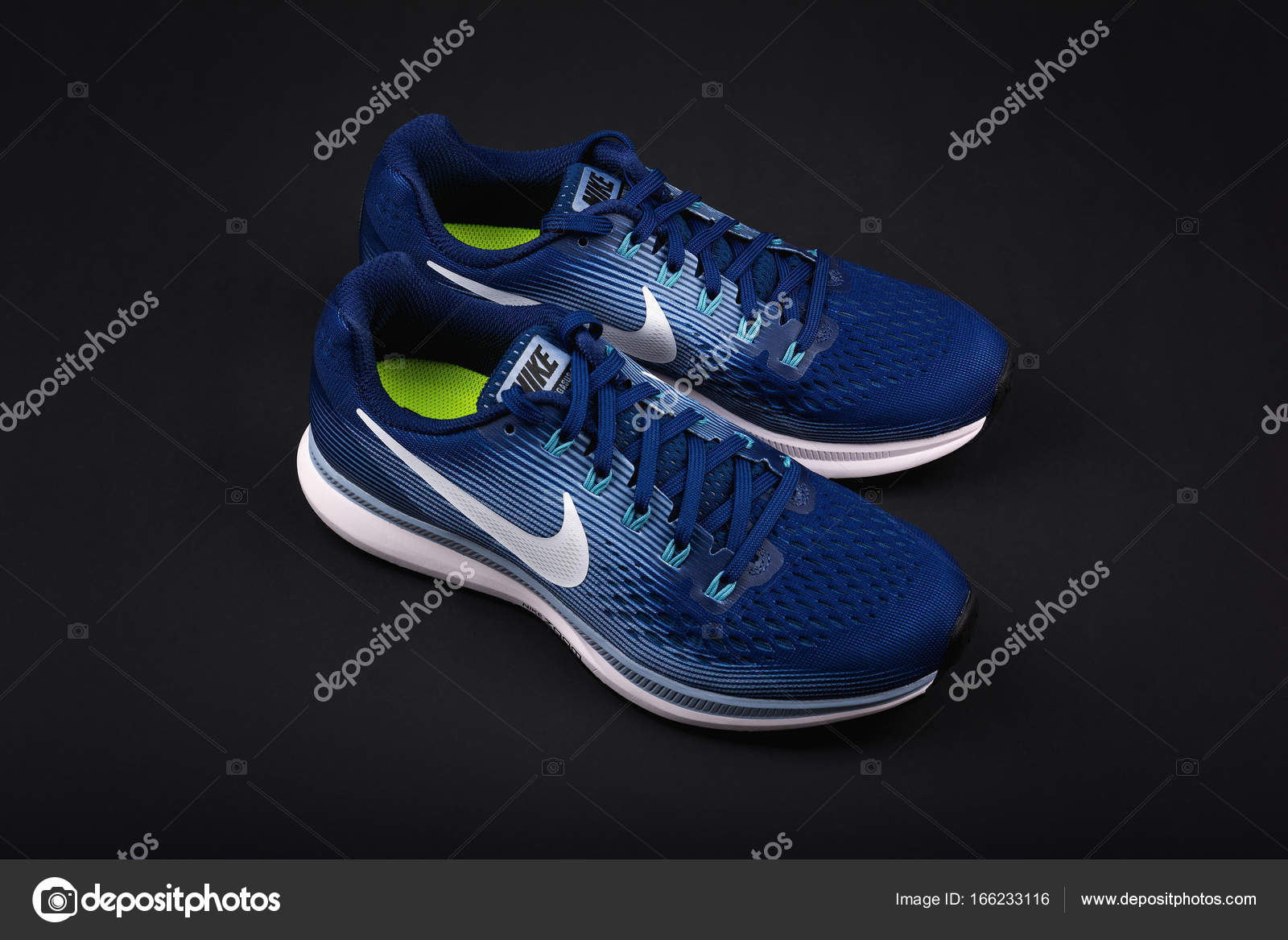 BURGAS, BULGARIA - SEPTEMBER 6, 2017: Nike Air Zoom Pegasus 34 Women's  Running Shoes in blue on black background. Nike is a global sports clothes  and ...