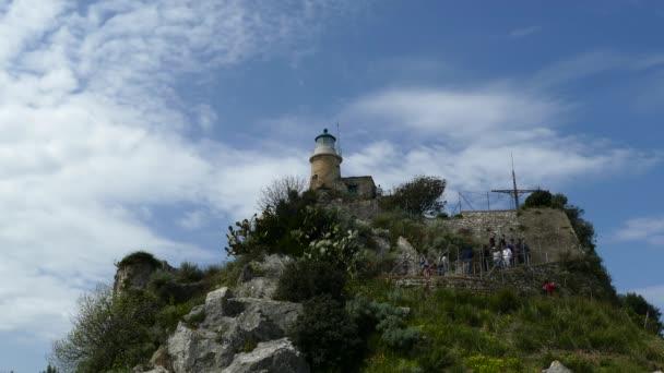 Die alte venezianische Festung in Korfu Stadt, Insel Korfu, Griechenland. Leuchtturm auf der Oberseite der Festung.