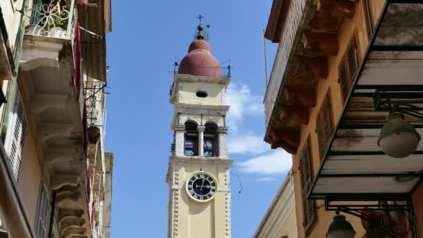 Kirche des Heiligen Spyridon Glockenturm, Kerkyra, Korfu, Griechenland.