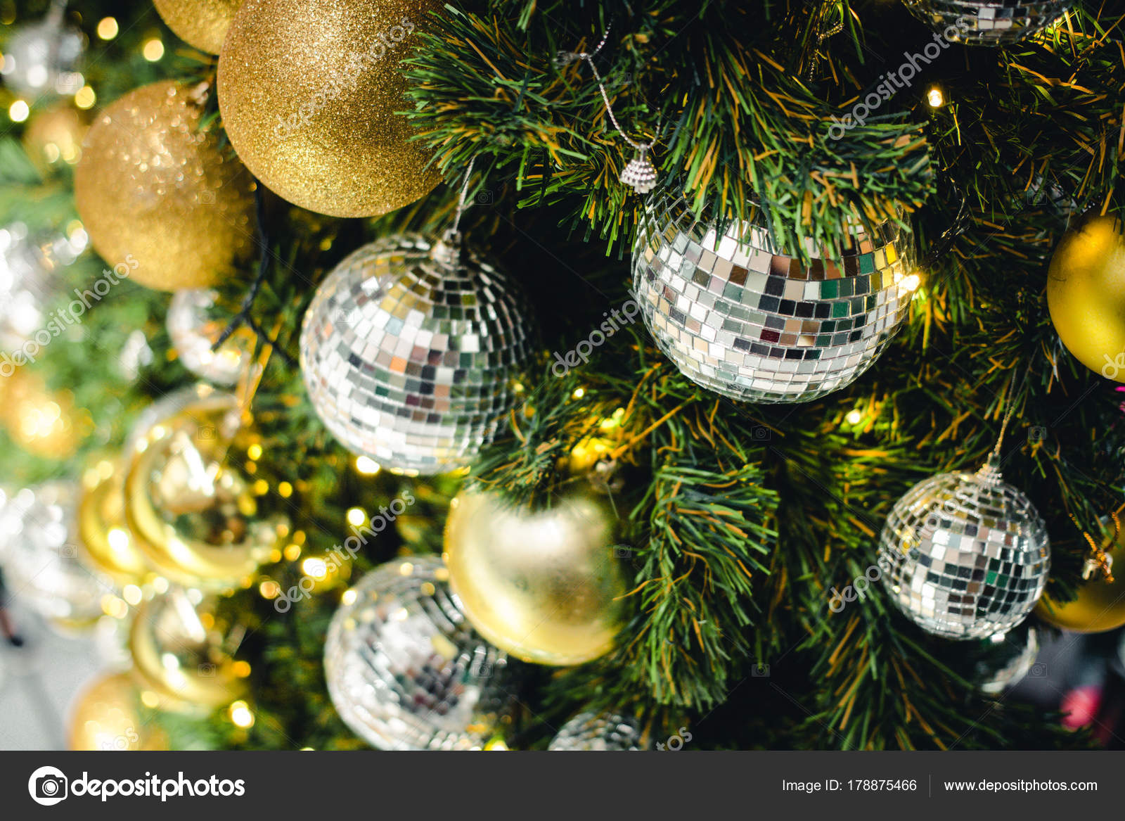 Golden Silver Color Christmas Ball Branches Fir Beautiful Light ...