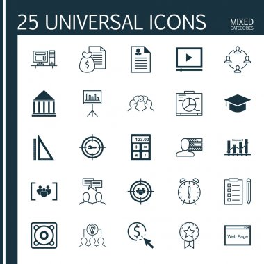 Set Of 25 Universal Icons On Focus Group, Reminder, PPC And More Topics. Vector Icon Set Including Education Center, Graduation, Time Management And Other Icons.