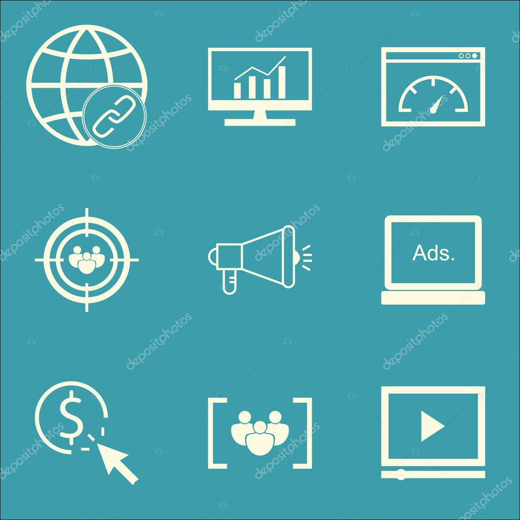 set of seo marketing and advertising icons on media campaign