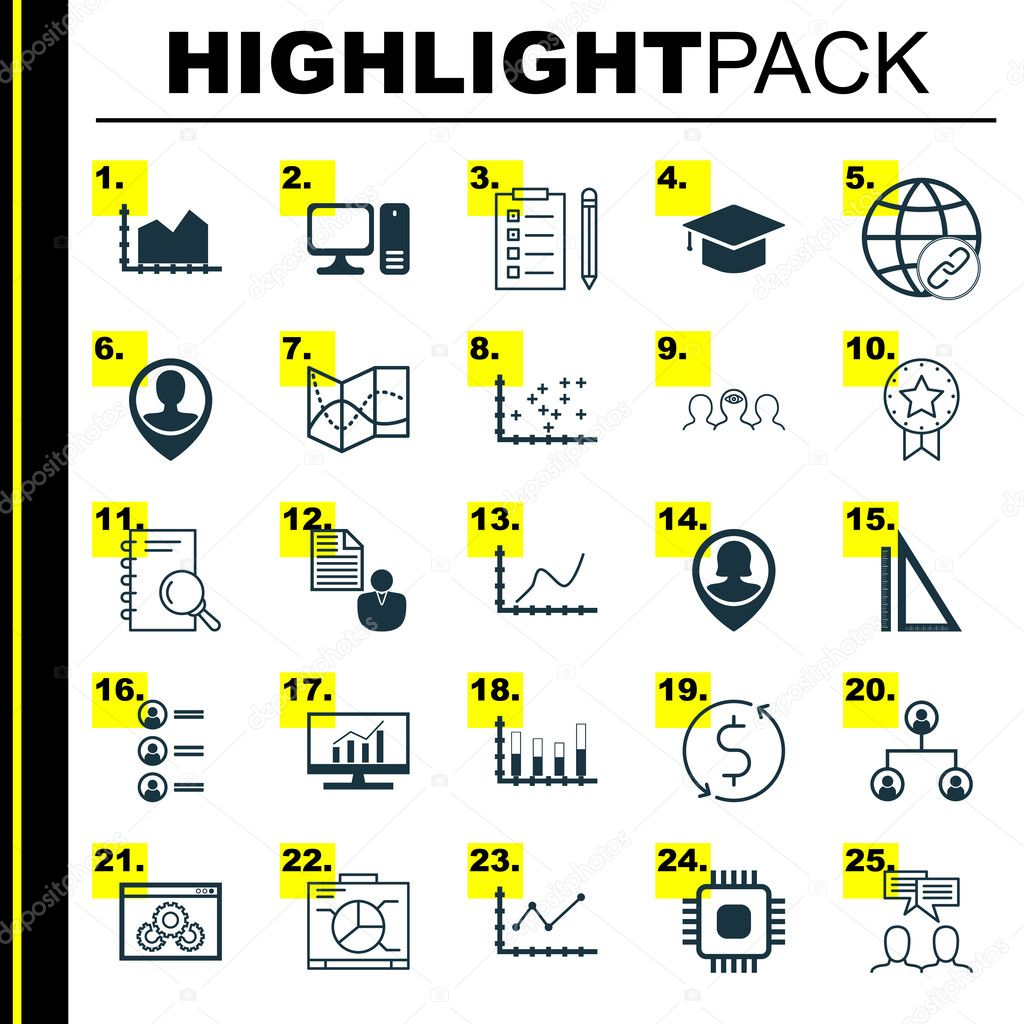 Set of 25 universal icons on achievement graph market research set of 25 universal icons on achievement graph market research road map and more topics vector icon set including plot diagram reminder website ccuart Image collections