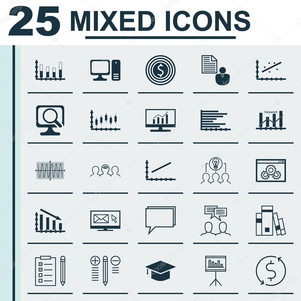 Set Of 25 Universal Icons On Presentation, Computer