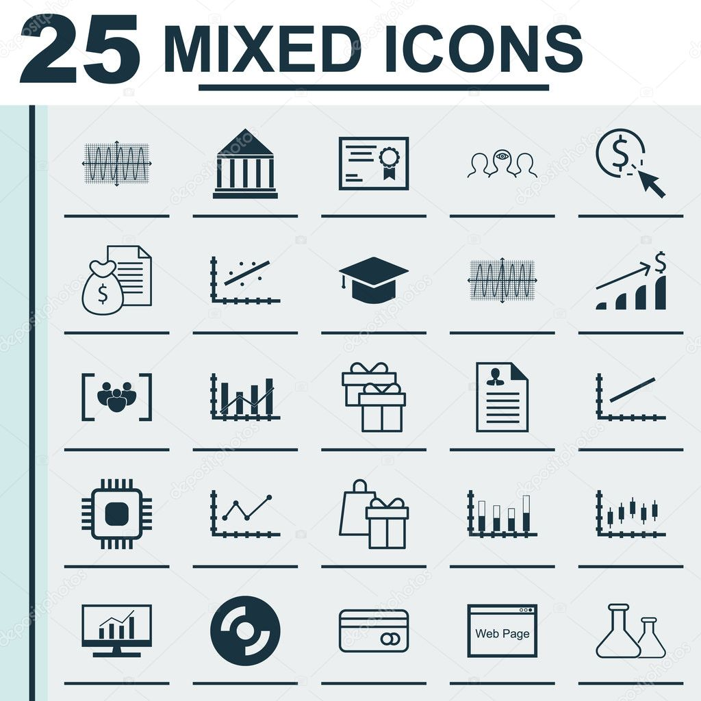 curriculum vitae icons  Set Of 25 Universal Icons On Line Up, Curriculum Vitae, Sinus Graph ...