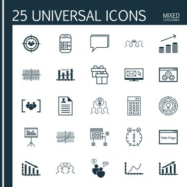 Set Of 25 Universal Icons On Present, Fail Graph, Conference And More Topics. Vector Icon Set Including Website Performance, Website, Fail Graph Icons. icon