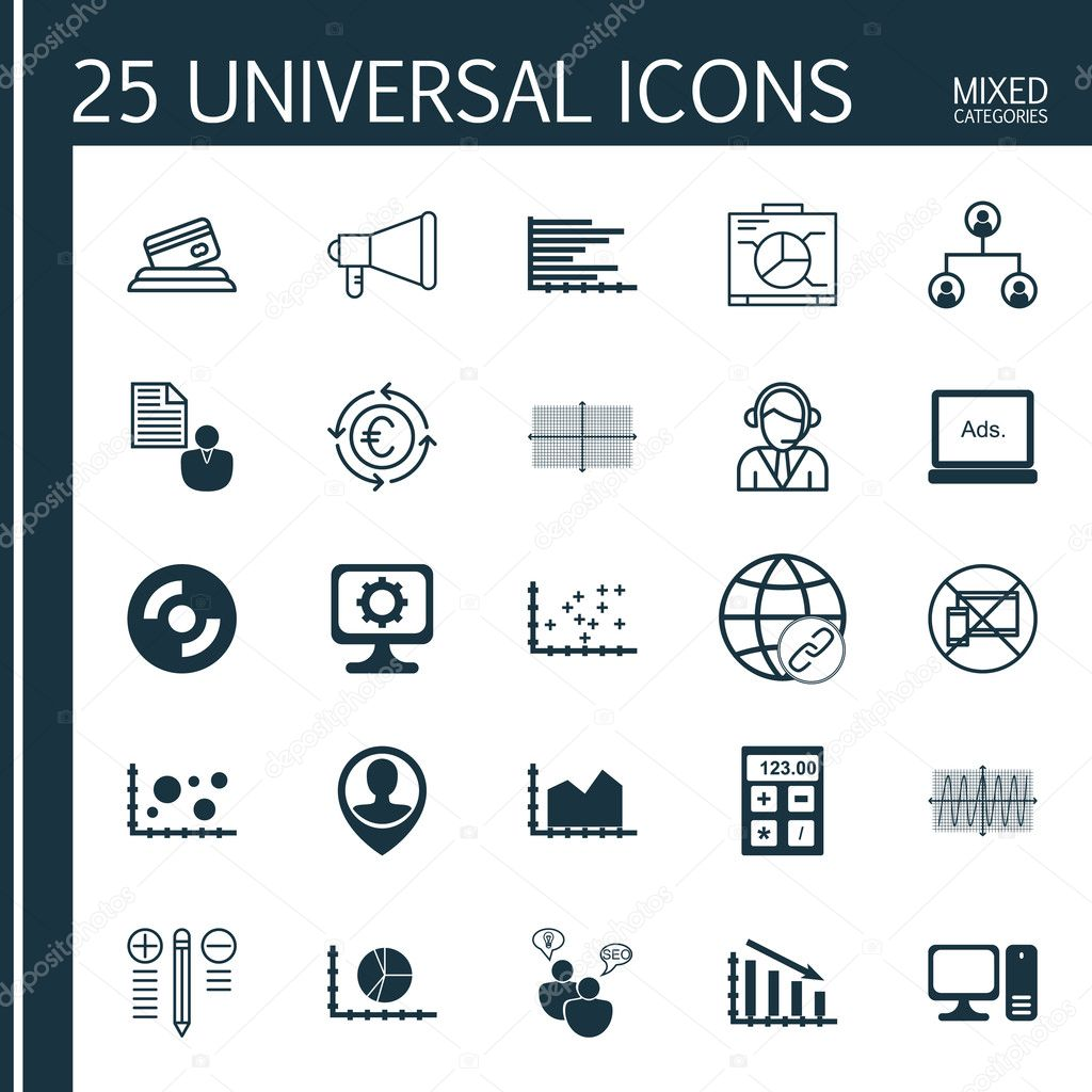 Set Of 25 Universal Icons On Credit Card Report Square Diagram And More Topics