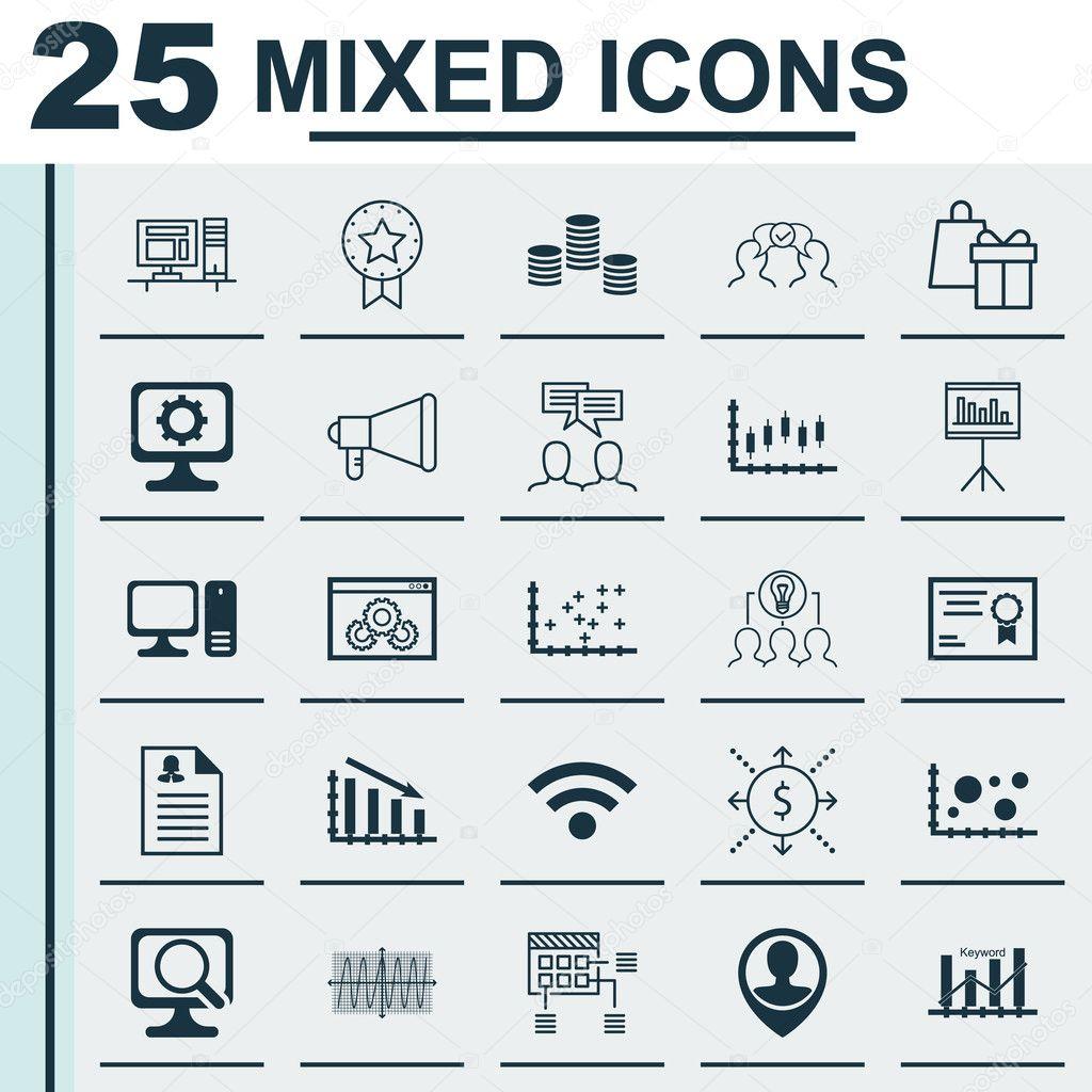 Set Of 25 Universal Icons On Desktop Computer, Shopping