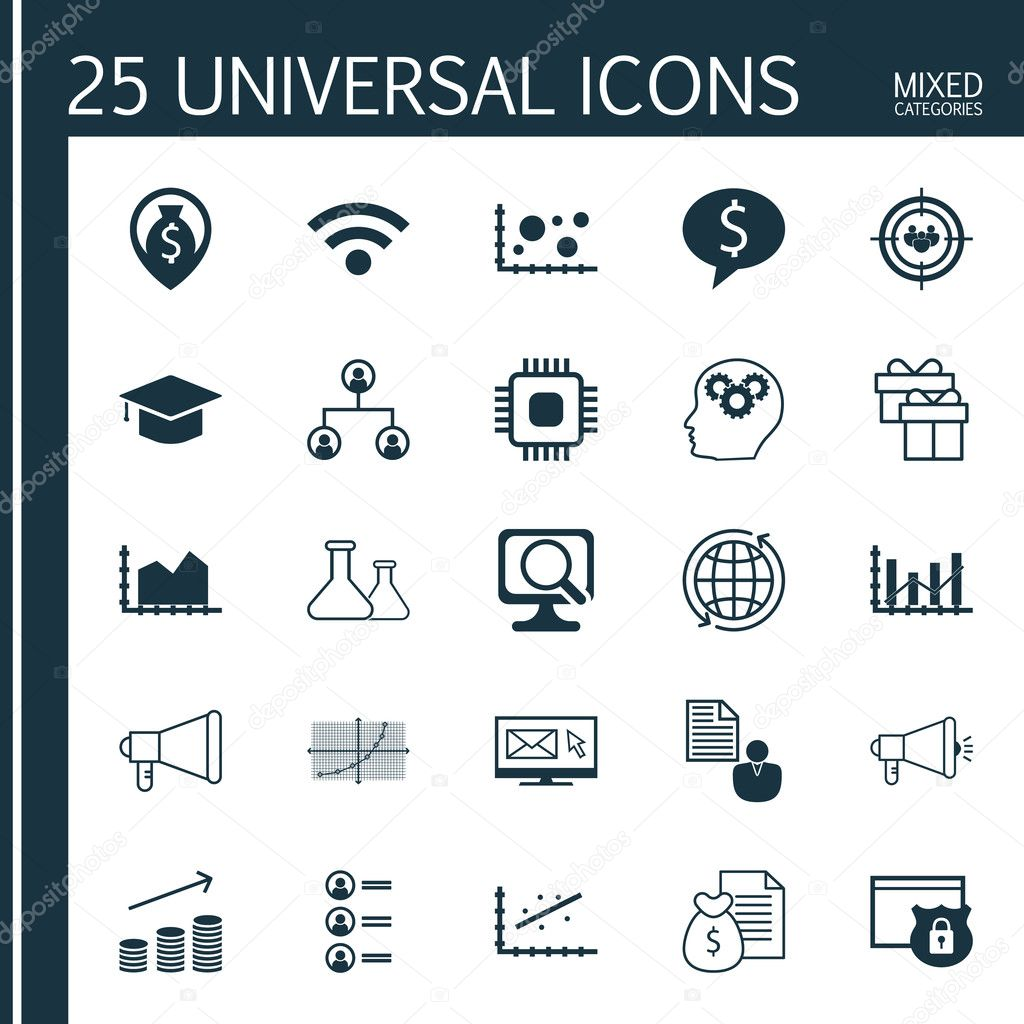 Set of 25 universal icons on business deal raise diagram report set of 25 universal icons on business deal raise diagram report and more topics vector icon set including wireless tree structure brain process icons ccuart Choice Image