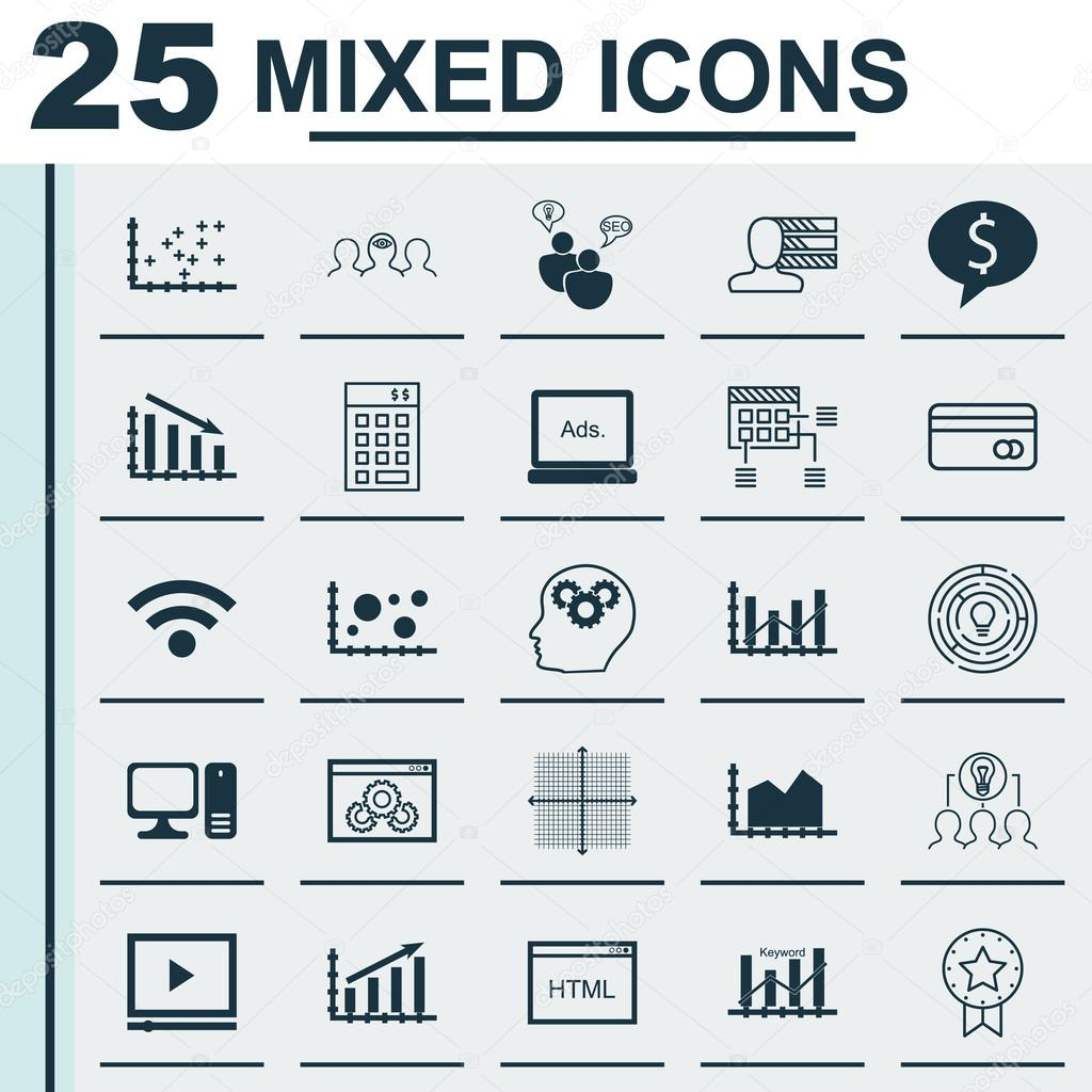 Set of 25 universal icons on plastic card website performance set of 25 universal icons on plastic card website performance schedule and more topics vector icon set including brain process plot diagram ccuart Image collections