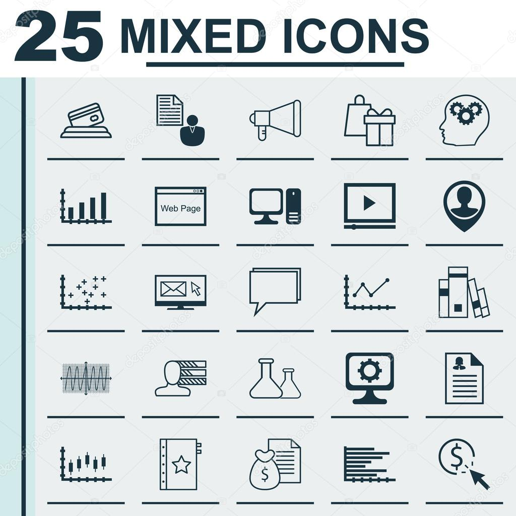 Set of 25 universal icons on female application library bars chart set of 25 universal icons on female application library bars chart and more topics ccuart Choice Image