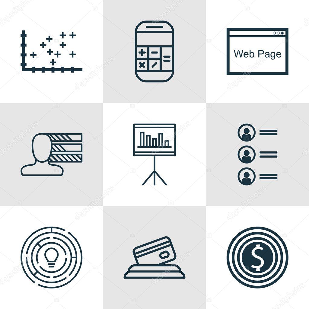 Set de 9 iconos editables Universal para publicidad, estadísticas y ...