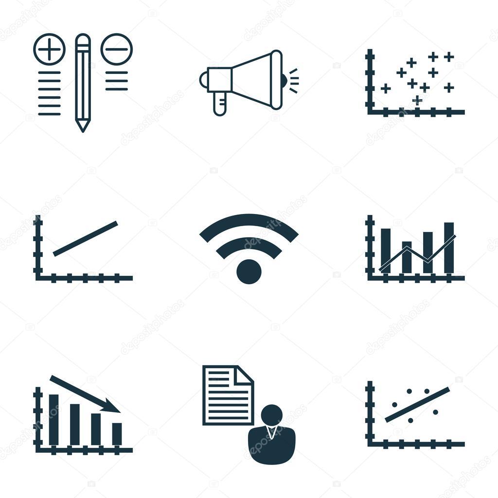 Set de 9 iconos editables Universal para estadísticas, Seo y temas ...