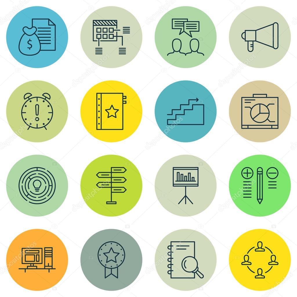 Set Of Project Management Icons On Discussion, Opportunity