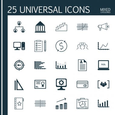 Set Of 25 Universal Editable Icons For Business Management, Airport And Project Management Topics. Includes Icons Such As Growth, Curriculum Vitae, Tree Structure And More.