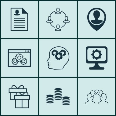 Set Of 9 Universal Editable Icons For Human Resources, Computer Hardware And Airport Topics. Includes Icons Such As Present, Collaboration, Cooperation And More. icon