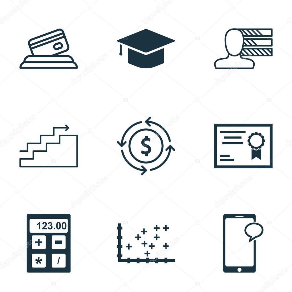 Set de 9 iconos editables Universal para estadísticas, gestión de ...