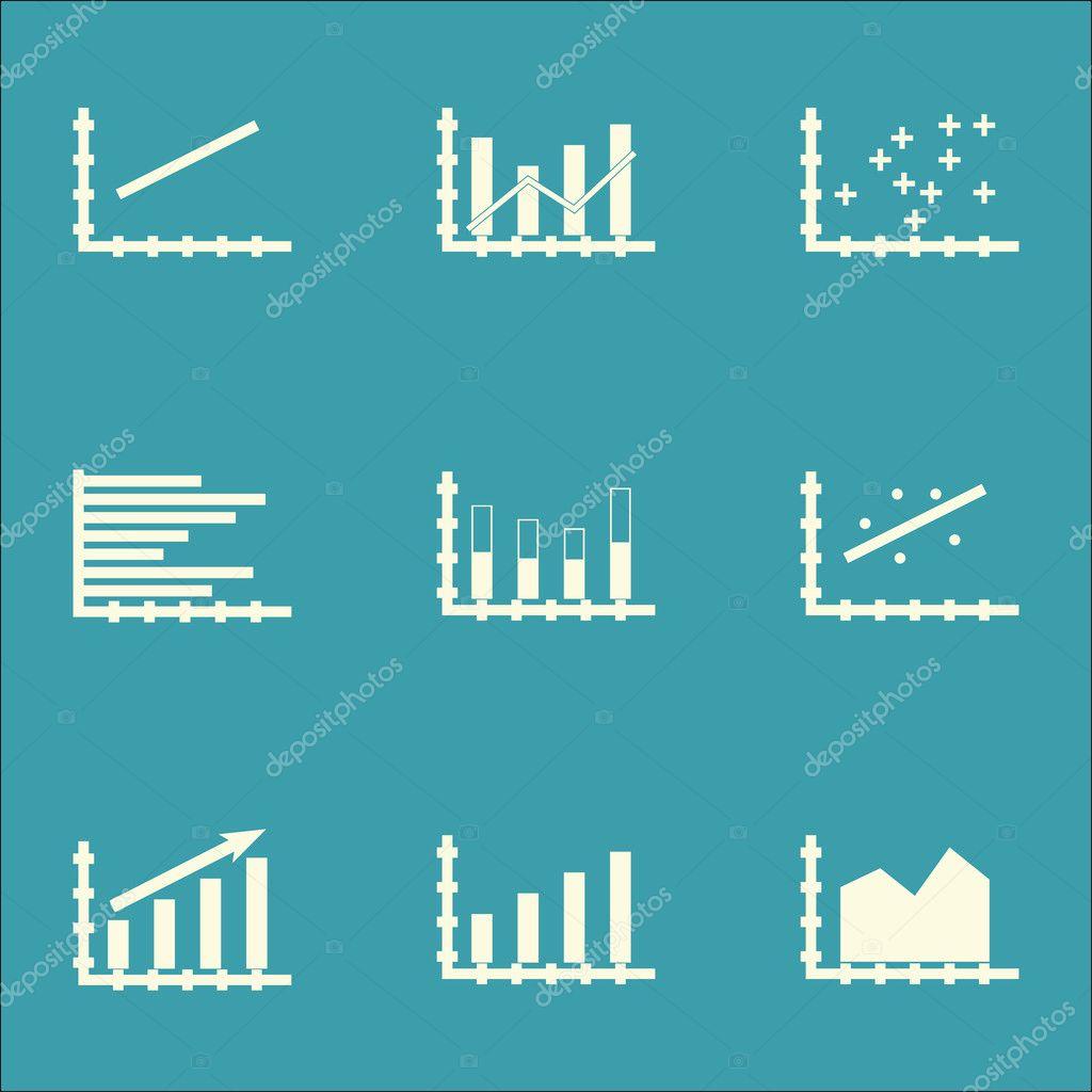Set Of Graphs, Diagrams And Statistics Icons. Premium Quality Symbol ...