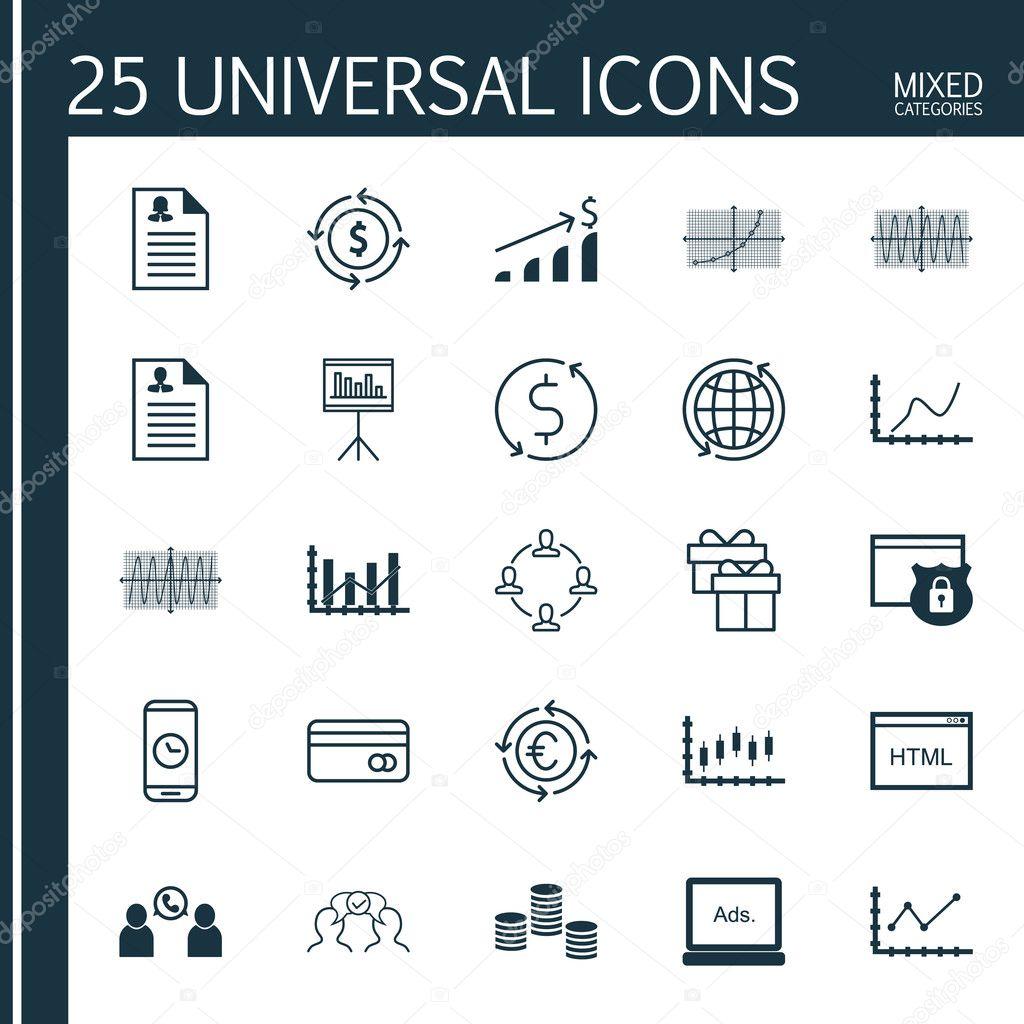 Set von 25 Universal editierbare Icons für Flughafen ...