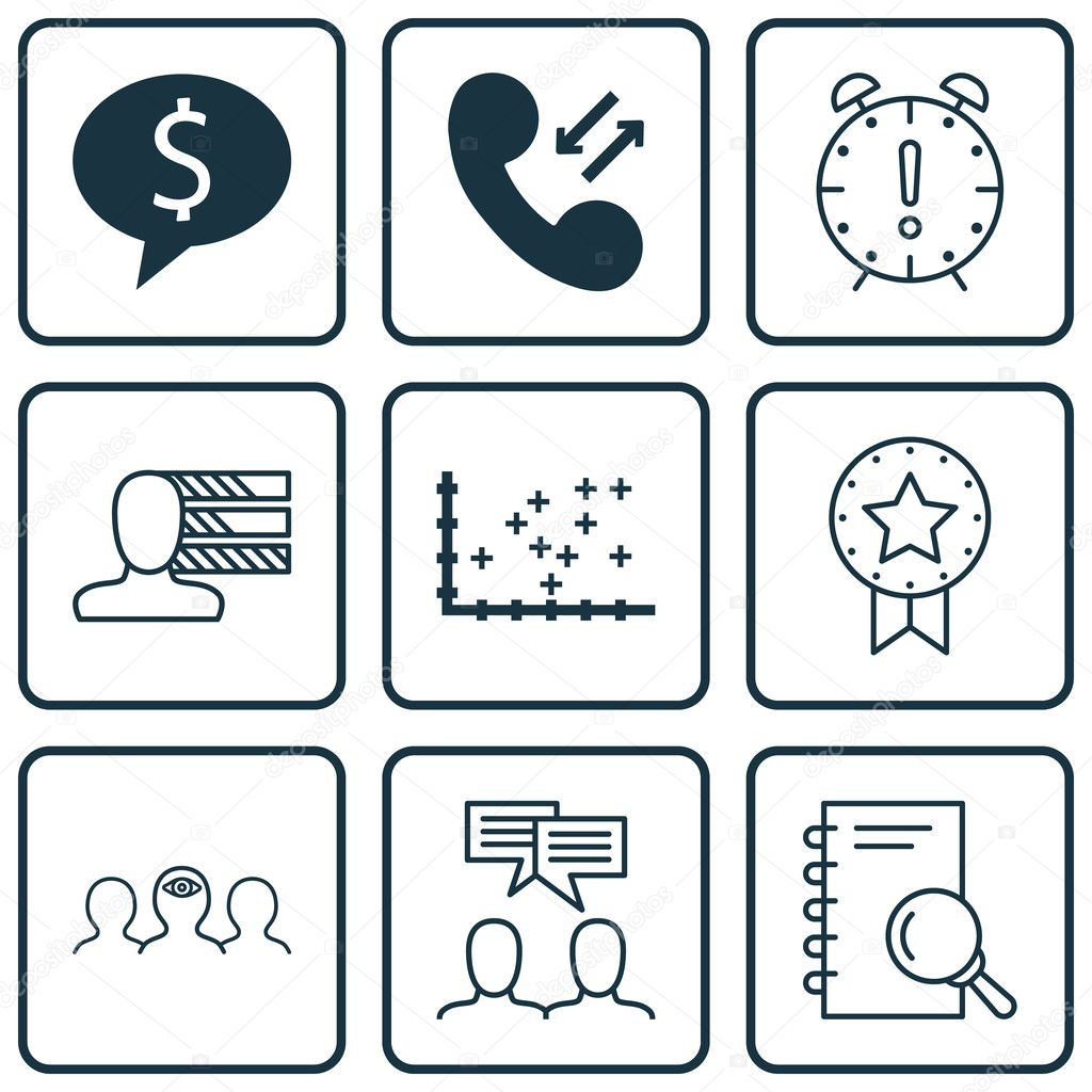 Set de 9 iconos editables Universal para la gestión empresarial ...