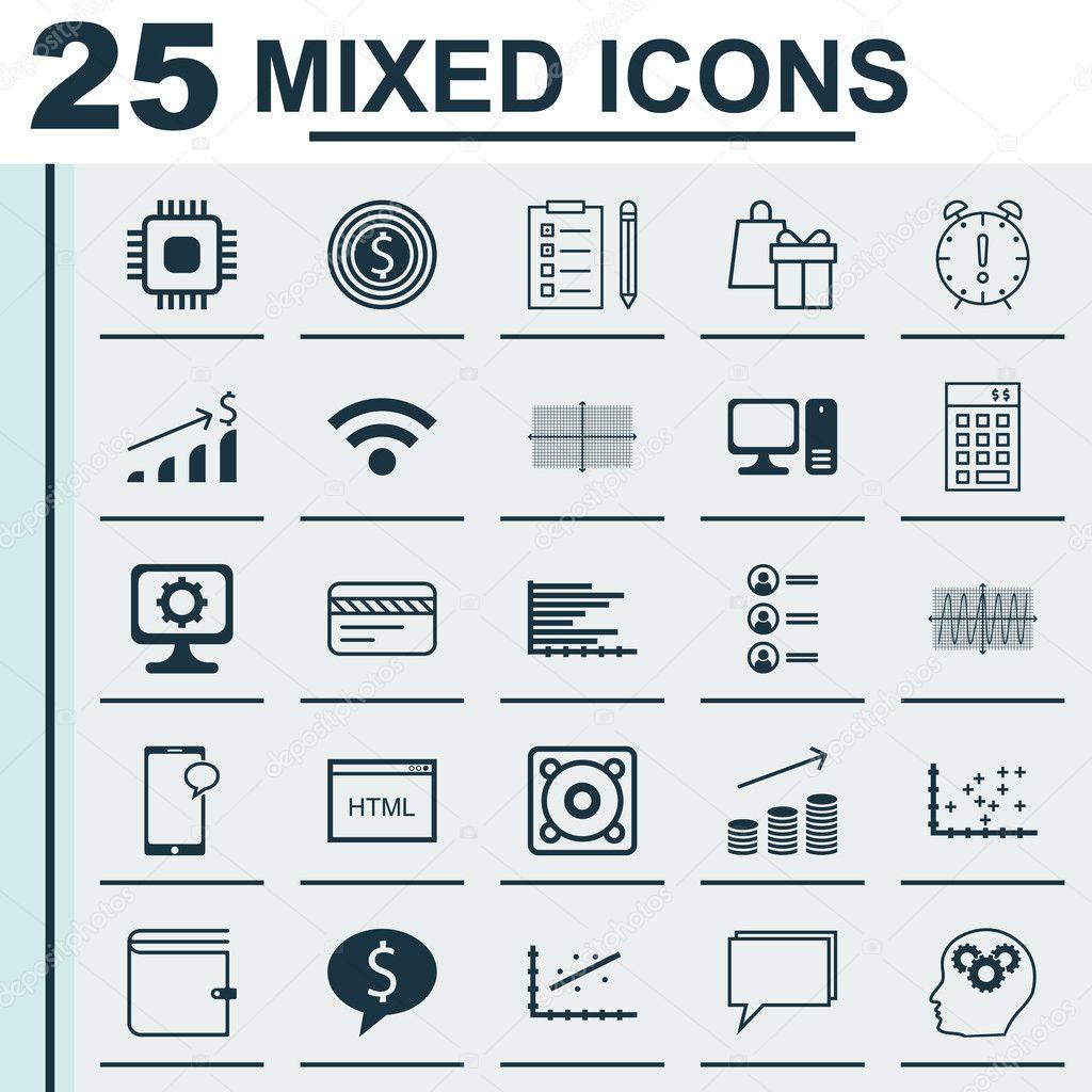 Set de 25 iconos editables Universal para Marketing, estadística y ...