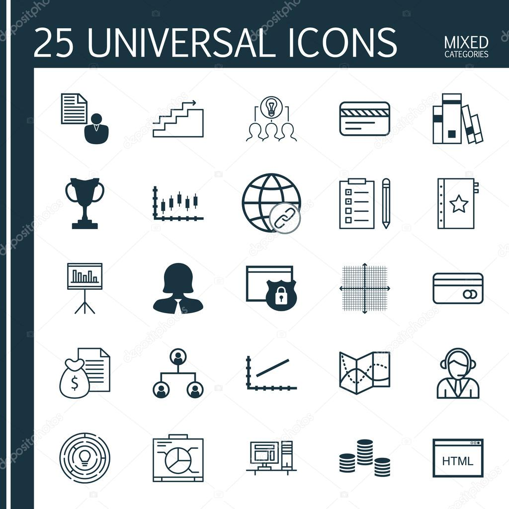 Set von 25 Universal editierbare Icons für Management, Hr und ...