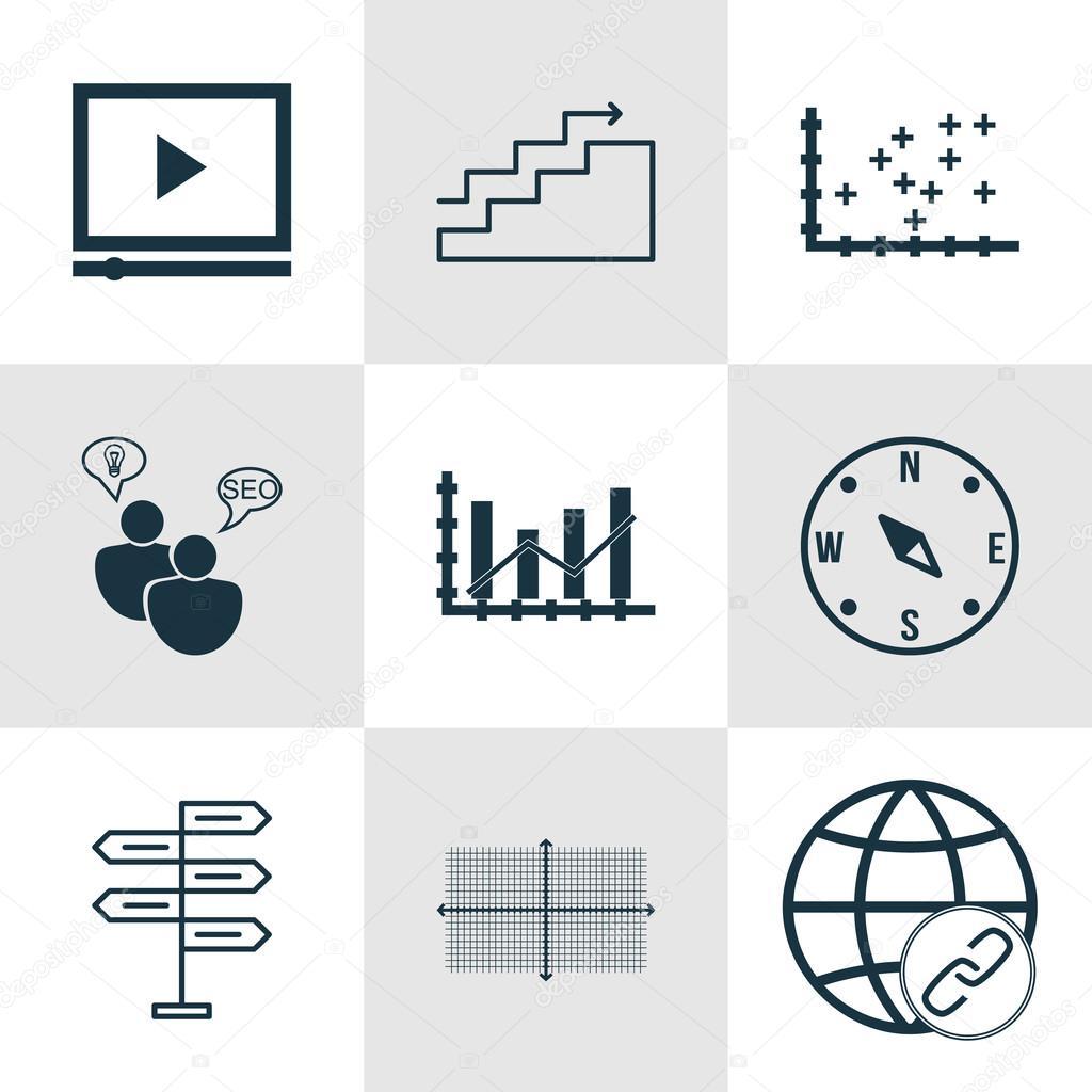 Set de 9 iconos editables Universal para publicidad, Seo y temas de ...