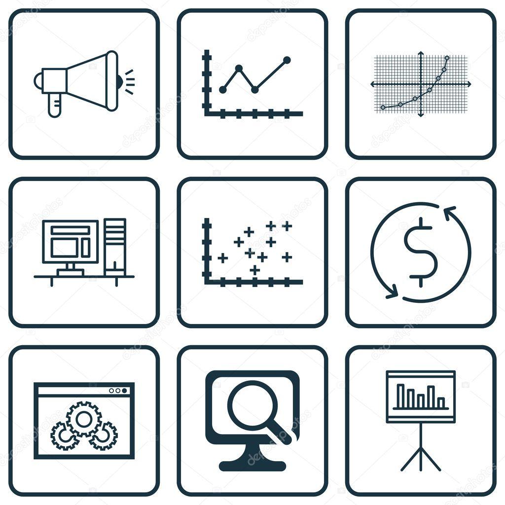 Set de 9 iconos editables Universal para las estadísticas, el ...