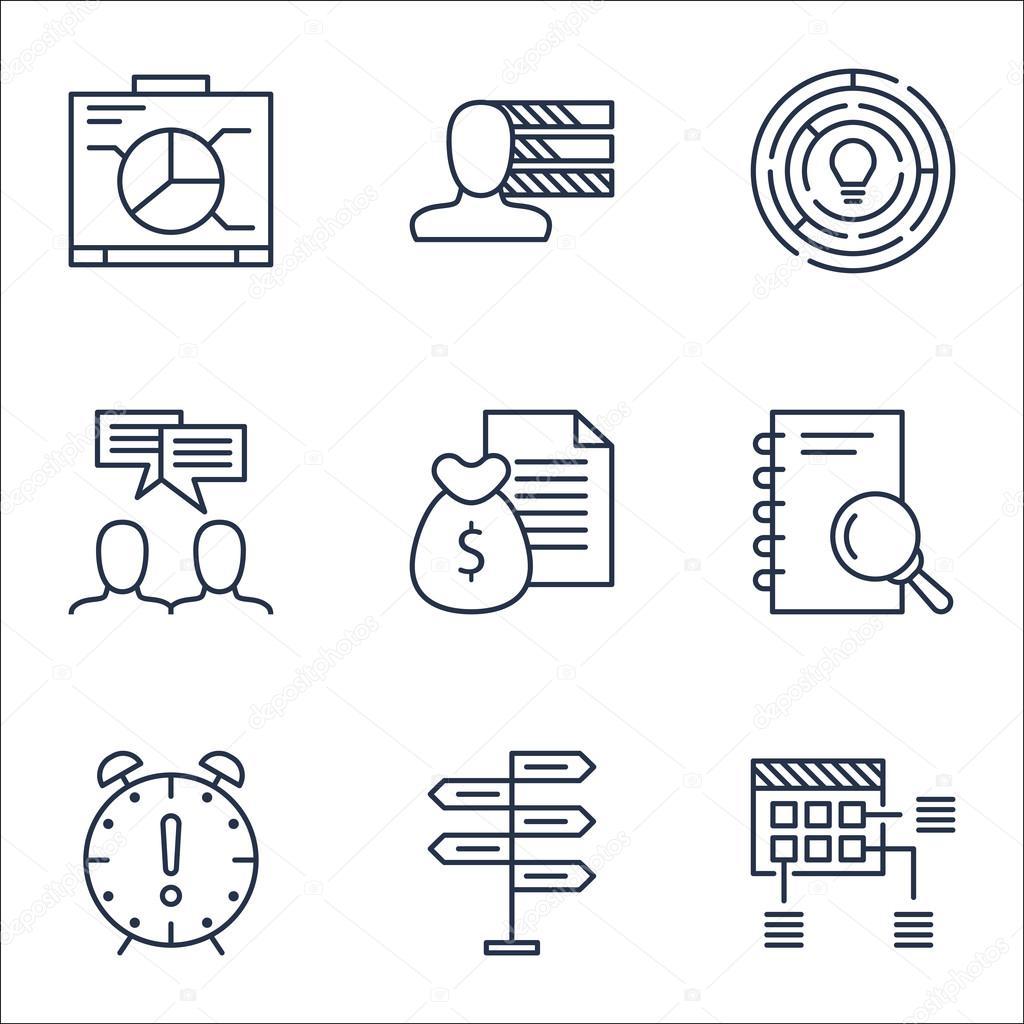 Set von Projekt Management Icons auf Innovation, Zeitmanagement und ...
